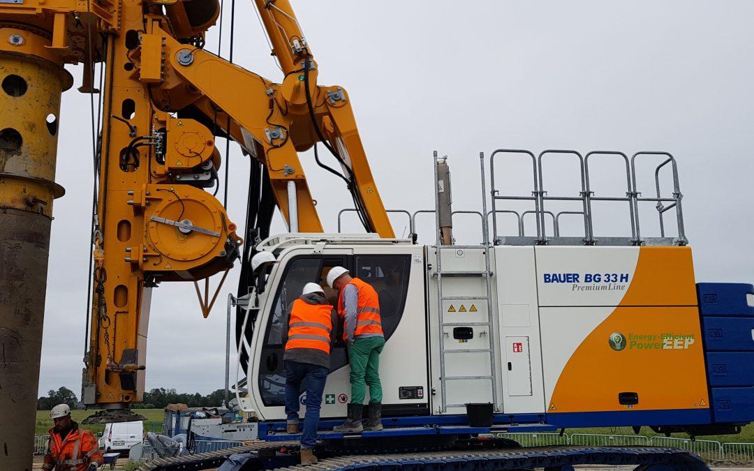 Auslieferung und erster Einsatz unserer neuen Drehbohranlage BAUER BG33H in Koldenbüttel, Schleswig-Holstein